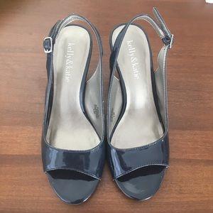 Kelly & Katie Classic Peep-Toe Sandal in Navy